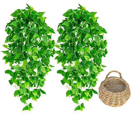 2 Pcs Artificial Hanging Plants with One Basket 3.6ft Fake Ivy Vine Hanging Greenery Plants for Home Decor Indoor Outdoor Garden Room Wedding Decoration Ivy Leaves (1 Basket Included)