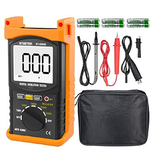 Digitale Multimeter,BT-6688B Isolationswiderstand Tester, Voltmeter, Spanningstester,Megaohmmeter,Weerstandsmeter mit Daten Halten+Hinterleuchtet+HV-Anzeige Prüfung Isolationswiderstand und Spannung