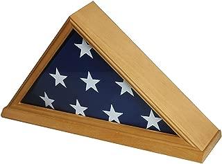 Solid Wood Memorial 5' x 9.5' Flag Display Case Frame for Burial/Funeral/Veteran Flag, FC06 (Oak Finish)