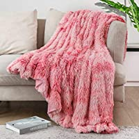 Lvylov Decorative Soft Fluffy Faux Fur Throw Blanket (Pink)