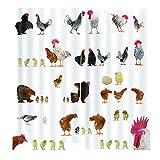 FinukGo Home Decration Decor Kreative Bad Lustige Huhn Duschvorhänge Polyester Wasserdichtes Gewebe Bad Vorhang-Multicolor
