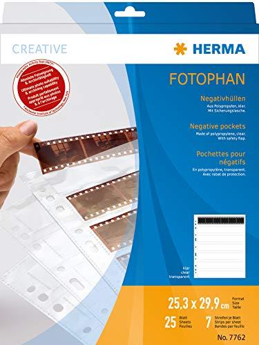 HERMA 7762 Fotophan Negativhüllen DIN A4 transparent (7 x 6 Streifen, 25 Hüllen, Folie) für Kleinbild-Negative im Format 35 mm mit Sicherheitslasche & Eurolochung