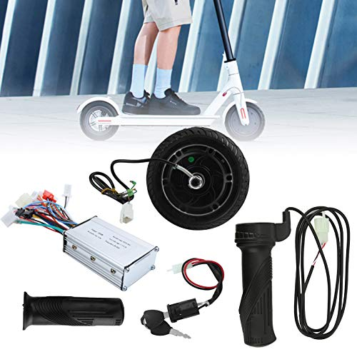 IDWT Juego de conversión de Scooter eléctrico DIY, Motor de Cubo sin escobillas de Rueda, Metal Duradero de Alto Rendimiento 25-30 KM/H para Scooter eléctrico DIY de 8 Pulgadas