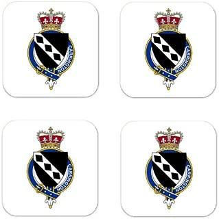 Carrington England Family Crest Square Coasters Coat of Arms Coasters - Set of 4