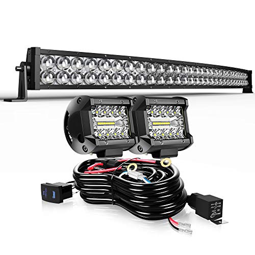 DOT 5D Curved 32' 180W Led Light Bar+2x 4' 60W Led Cube Pods+Wiring Kit For Driving Lamp Marine Boat Polaris Honda Pioneer Can Am Defender Dodge GMC UTV ATV Kubota Kawasaki Suzuki Pathfinder GMC Yukon