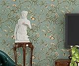 Papel pintado no tejido flores y pájaros de manzano vintage 57 pies cuadrados de color verde claro