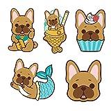 "DOGGOFASHION French Bulldog Waterproof Sticker Vinyl Decal Bumper Luggage Laptop Cell Phone Cover Waterbottle 3"" x 2.5""(5pcs) (French Bulldog Stickers Pack)"
