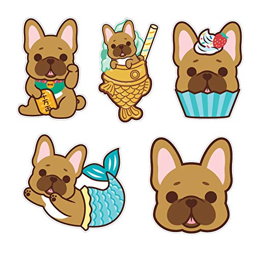 "DOGGOFASHION French Bulldog Waterproof Sticker Vinyl Decal Bumper Luggage Laptop Cell Phone Cover Waterbottle 3"" x 2.5""(5pcs) (French Bulldog Stickers Pack)"