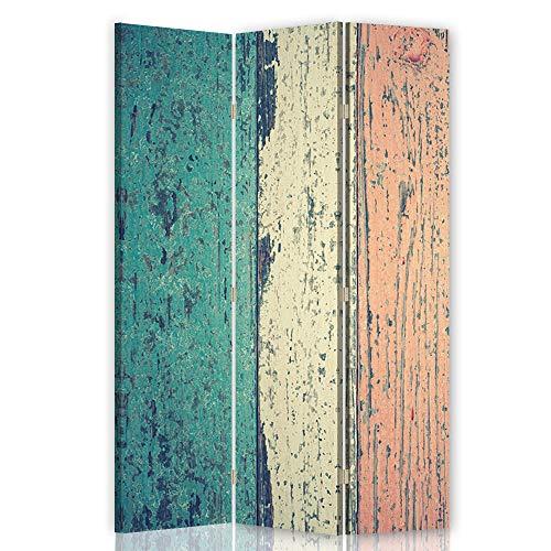 F FEEBY WALL DECOR Paravento Interno Astratto 3 Parti unilaterale Retro Vintage Multicolore 110x175 cm