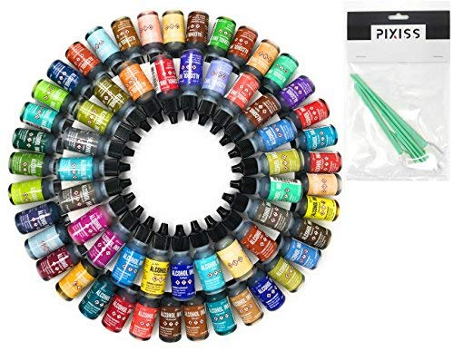 Ranger Alcohol Inks Set (50 Pack) Tim Holtz Brand Alcohol Inks and 10 Pixiss Alcohol Ink Blending Tools for Alcohol Ink Paper (Assorted Colors, No Duplicates)