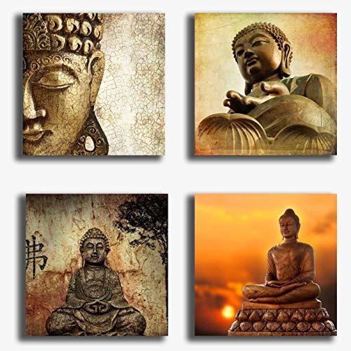 Quadri Moderni 4 pezzi BUDDHA Etnico buddismo Stampa su Tela CANVAS Arredamento Arte astratto XXL Arredo soggiorno salotto camera da letto cucina ufficio bar ristorante (4 pezzi 30x30 cm cad.)