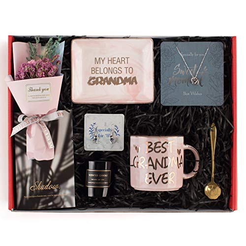 Gifts for Grandma - Grandma Gifts Set Includes Sterling Silver Necklace,Earrings, Pink Marble Jewelry Trays,Pink Marble Mug, Scented Candle and Flower – Best Mother's Day Birthday Gift Set