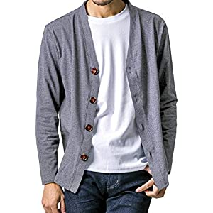 FTELA(フテラ) メンズ カーディガン ジャケット セーター 羽織 シンプル 無地 長袖 ボタン 春夏秋冬 L ダークグレー