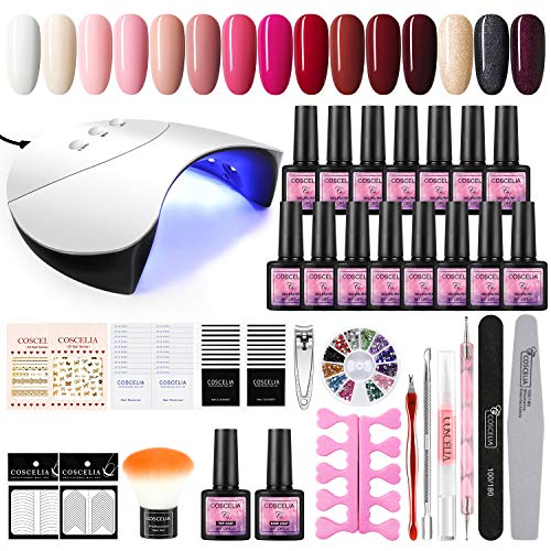 COSCELIA UV Gelnägel Starterset 36W UV+ LED Nagellampe Starterset 15x uv Gel Lacken Set Gel Lacken für UV Nageldesign Gelnägel Nagelset