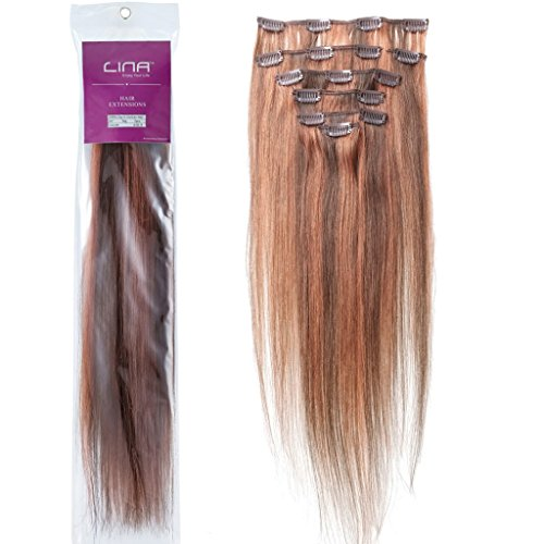 Lina Silky Soft Human Hair Women Clip In Straight Extensions Hairs #4/30 Mixed