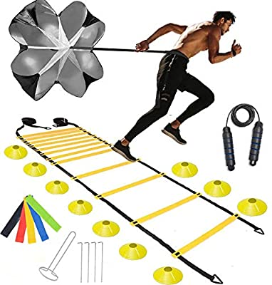 Speed Agility Ladder & Cones Training Set -Workout Equipment Set with 20ft Ladder,10 Cones, Loop Resistance Bands,Carry Bags