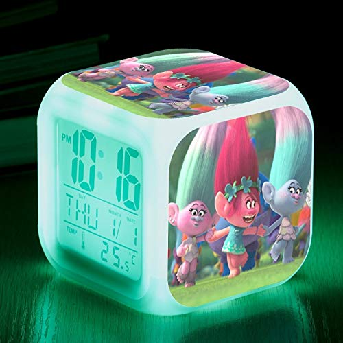 Zhuhuimin Film Troll Cartoon Bedside Kids wekker Digitale wekker Wake Up Light Desktop klok LED wekker wanhoop