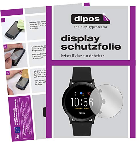 dipos I 2X Schutzfolie klar kompatibel mit Fossil The Carlyle HR (5. Gen.) Folie Displayschutzfolie