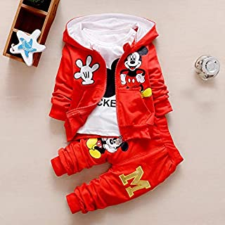 Mickey Mouse 3 PCs Set Hooded Coat + T-shirt + Pant Boys & Girls Clothing Set | Kids Gifts | Photography Props| Sport Suit (Red, 12M)