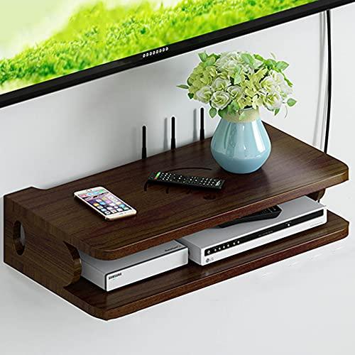 Estante para decodificadores, gabinete de TV flotante, consola multimedia suspendida, creativo abierto de doble capa, para oficina en casa/brown / 48 * 25 * 13cm