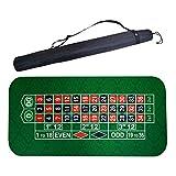HEN'GMF 180 * 90cm Quadrato di Gomma Verde Roulette Black Jack Poker Tavolo Tappetino Gioco da Tavolo Panno con Borsa a Tracolla.