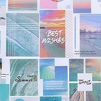 TNYKER シール フレークシール 手帳 ステッカー 風景 スケジュール デコ おしゃれ 海外 かわいい 西洋 写真 手紙 カレンダー 40枚セット(海と空のグラデーション)