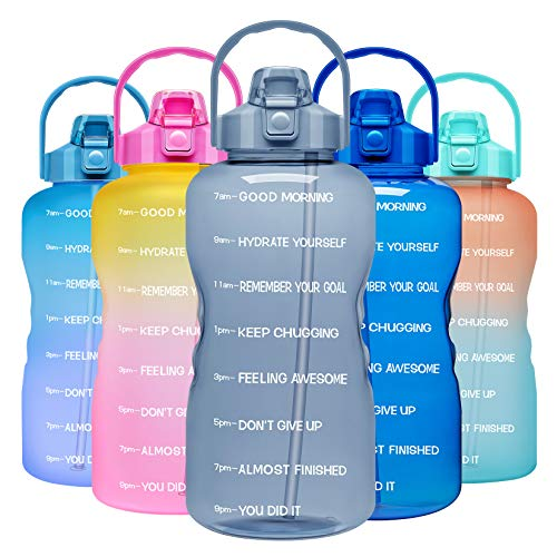 Venture Pal 1 Gallon Large Motivational Sports Water Bottle with Time Marker & Straw, Leakproof BPA Free Reusable Fitness Water Jug for Gym,Work and Outdoor Sports-Gray
