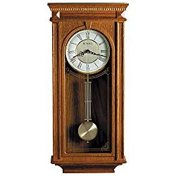 Bulova C4419 Manorcourt Chiming Clock, Golden Oak Finish, Brown
