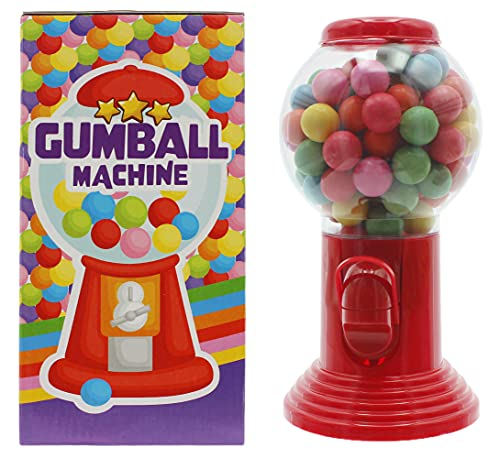 Kaugummispender Gumball Machine mit 300 g Chewing Gum bunten Kaugummi-Kugeln gefüllt, naxchfüllbar, ca. 20 cm (Rot)
