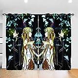 LIUCHIHYUU Sword Art Online - Cortinas fáciles de instalar (2 paneles, 52 x 213,4 cm)
