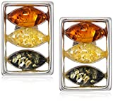 Sterling Silver Multi-Color Amber Stud Earrings