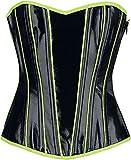 Gothicana by EMP Schwarze Korsage im Lack Look mit neonfarbenen Details Mujer Corsé Negro XXL