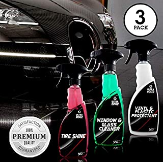 Luxury Car Cleaning Kit - 3 Pack Ultimate Auto Care Bundle - Glass Cleaner, Leather Cleaner and Tire Shine - 18 Oz Bottles -Residue and Streak Free - Formulated for High End Premium Vehicles