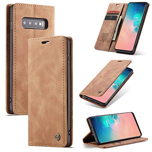 Capa Carteira COPAAD para Samsung Galaxy S10, Capa Protetora Flip Magnético de Couro PU Macio Fosco Estilo Retro - Marrom