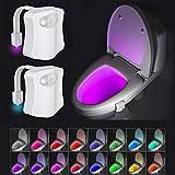 Beanlieve Paquete 2 luces noche 16 colores - Luz de noche para inodoro, luz de sensor de movimiento automático para baño, luz de noche con cuenco incandescente para cualquier inodoro