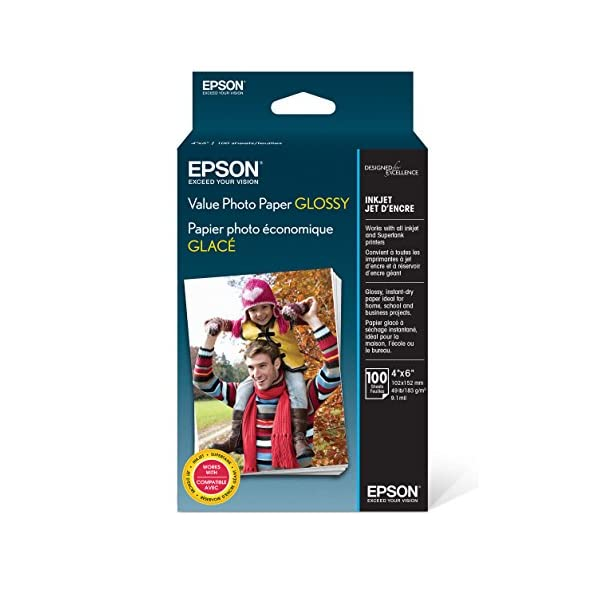 Epson Value Photo Paper Glossy, 4″x6″, 100 Sheets (S400034)