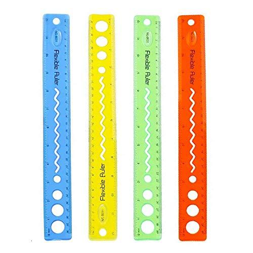 MINGZE 4 unidades flexible regla, 12 pulgadas/30 cm recta suave Reglas de plástico transparente gruesas y flexibles para estudiantes escuela Oficina 4 colores 🔥