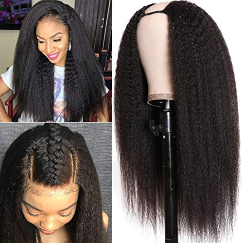 UNice Hair 10A Kinky Straight U Part Human Hair Wig for Black Women, Brazilian Remy Human Hair Glueless Full Head Clip in Half Wig 150% Density Natural Color (18inch)