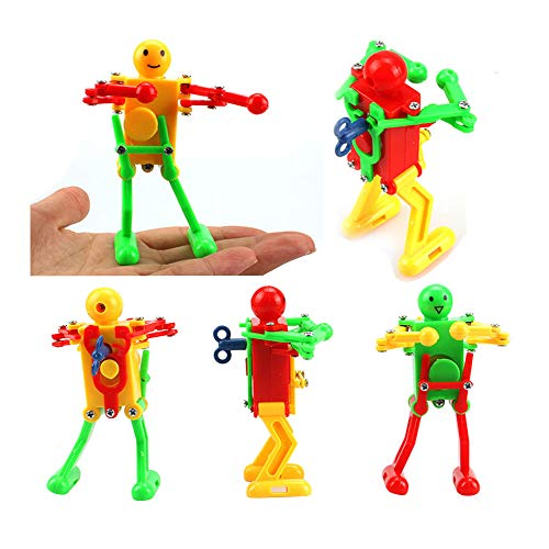 M Joy Decor 5 Pcs Funny Spring Wind-up Dancing Walking Robot Toy for Kids, Robot Playset for Kids Role Playing, Robots Theme Party Activity