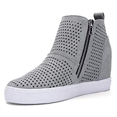 A chunky flatform lifts this suede high top sneaker, while a perforated upper adds stylish. Caliber hides a secret heel that lifts and flatters. The height is comfortable to wear all day and looks great with leggings or jeans. Step into the style wit...