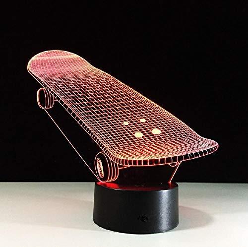 Kleur van het skateboard-7 van de ledlamp met 3D, nachtlampje voor kinder-tintje, nachtlampje, usb-tafel, lamppara-lamp, kleurrijke romantische cadeaus voor kinderen en vrienden.