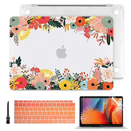 Batianda for New MacBook Air 13 Inch Case 2018 2019 2020 A2179 A1932 Frosted Clear Hard Shell Cover with Match Keyboard Cover for MacBook Air 13.3' with Retina Display & Touch ID, Watercolor Flower