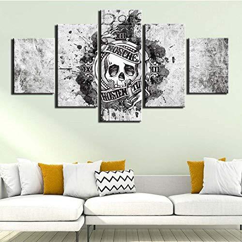 Jukunlun Impresión De Lienzo Arte De Pared 5 Paneles Carteles Pintura Calavera Terror Imágenes Para Dormitorio Decoración Del Hogar Ilustraciones-200X100Cm(Frameless)