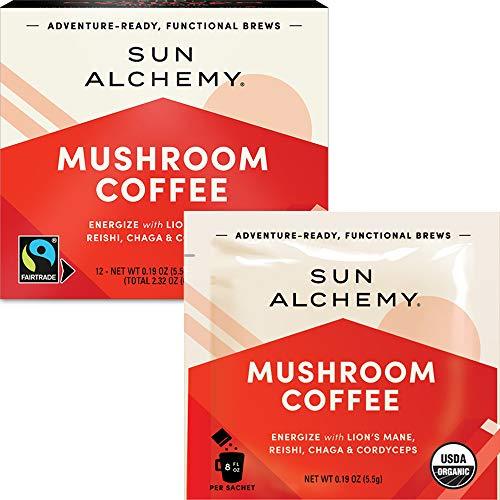Sun Alchemy Mushroom Coffee, Energize with Organic Fair-Trade Coffee, Lion's Mane, Reishi,...