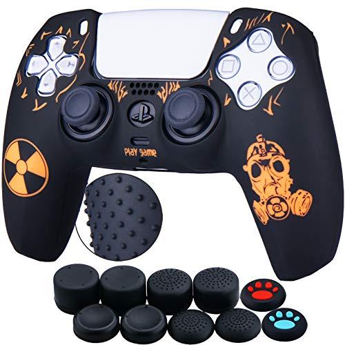 YoRHa 10 fundas de silicona para Sony PS5 Dualsense Controller (naranja de adiación) con agarraderas para pulgar Pro x 10