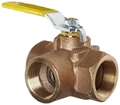 """Apollo 70-600 Series Bronze Ball Valve, Two Piece, 3-Port Diverting, Lever, 2"""" NPT Female by Conbraco Industries"""