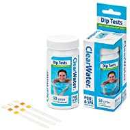 Clearwater CH0043 50 Dip Test Strips for Swimming Pool and Spa Treatment, Measures PH, Alkaline and ...