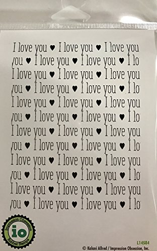 Impression Obsession IO I Love You Background Cling Mounted Rubber Stamp L14584 Background Mounted Rubber Stamp