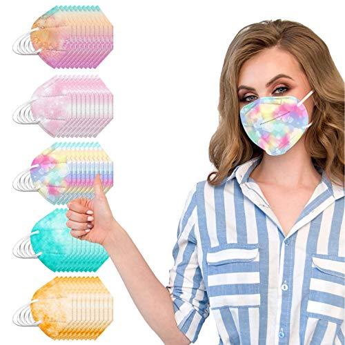 VEMOW 5 Capas Tela para Adultos Proteccion, Patrón de Niebla Bufanda Transpirables con Elástico para Los Oídos Bolsa para Trabajo Ciclismo Gimnasio Protección Verde Naranja Rosa Violeta(C9-50pc)