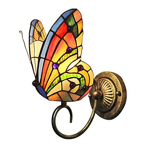 Lampada Da Parete in Stile Tiffany, Applique Da Parete Farfalla Artigianale Retrò in Vetro Colorato Pastorale Europeo, Corridoio Camera Da Letto Cafe Bar Applique E26 / E27 (Butterfly Type-A)